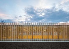 This underground sports hall for a school in Obrenovac is topped with a glass box covered in vertical wooden laths to protect it from stray balls