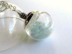 Aquamarine Birthstone Necklace : Aquamarine Necklace, March Birthstone Pendant, Keepsake Necklace, Gemstone Nuggets in Glass Globe on Etsy, $90.00