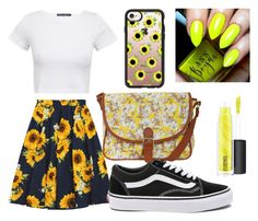"""""""Sunflower Plain"""" by hey-itskiki23 ❤ liked on Polyvore featuring Vans, Pilot, Casetify, MAC Cosmetics, Summer, sunflower, brightyellow and fashionfever"""