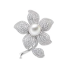 Adorable Platinum Plated Brooch, Micro Pave AAA Zircon Plum Flower with Shell Pearl, Platinum; Size: 48x38mm; Pearl:about 12mm in diameter.<br/>Priced per 1