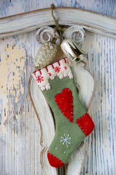 A vintage shabby chic Christmas stocking.