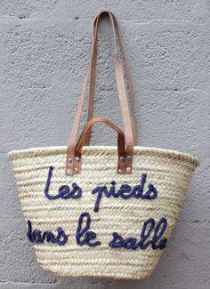 """L'atelier Des Petites Bauloises: Panier de plage """"Les pieds dans le sable"""""""