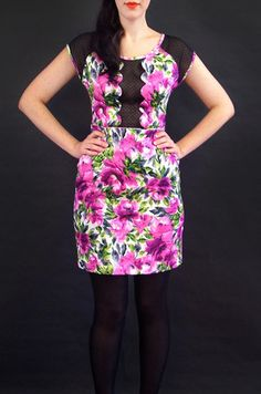 Esme scallop front wiggle dress- violet floral | Swonderful Boutique