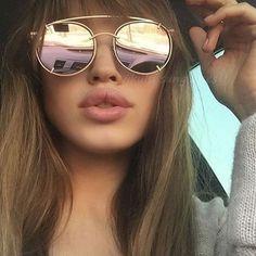 Rose Gold Mirrored Sunglasses, Round Sunglasses, Sunglasses Women, Check, Round Frame Sunglasses