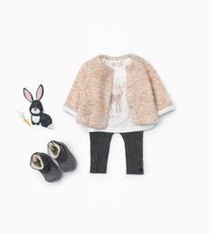 Zara Baby Girl Marled Pink Peach Jacket, Deer Shirt and Gray Leggings