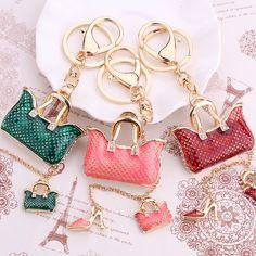 Fashion rhinestone handbag keychain bags keyring llaveros creative High heels shoes key chain ring holder Car Accessories gift http://fave.co/2dj83Uf