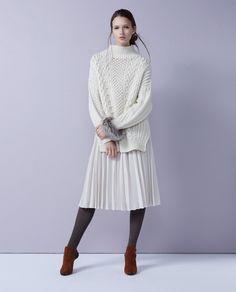 White winter outfit: MACPHEE SKIRT / BALLSEY BANGLE / ARRON TIGHTS / BLEU FORET SHOES / PELLICO