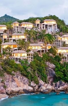 The 78 Banyan Tree villas fan out down a hillside to the ocean like an exotic waterfall. #Thailand