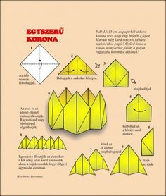 Origami egyszerűen - Képgaléria - Diagrammok - Óvodás hajtogatások Folding in kindergarten - Egyszerű korona Crafts For Kids, Arts And Crafts, Paper Crafts, Origami Crown, Origami And Kirigami, Christmas Origami, Teaching Aids, Preschool Lessons, Diy For Teens