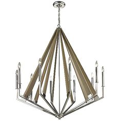The Elk Lighting Madera Chandelier showcases dramatic angles with an intriguing mix of materials. Taupe finished wooden slats form a triangle shape, with the exposed bulbs around the outer edges. The metal mixed with the natural wood creates an interesting juxtaposition, being rustic yet modern at the same time.