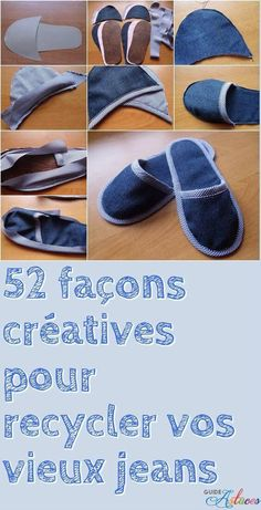 52 façons créatives pour recycler vos vieux jeans - Man Tutorial and Ideas Diy Jeans, Sewing Jeans, Sewing Clothes, Diy Clothes, Sewing Aprons, Jean Crafts, Denim Crafts, Sewing Projects For Beginners, Sewing Tutorials