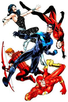 """The original not so """"Teen"""" Titans: Donna Troy, Garth, Wally West, Roy Harper, and Dick Grayson."""