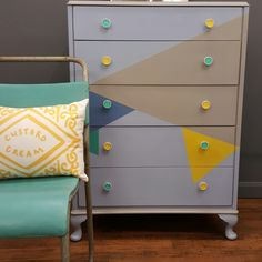 Geometric design vintage chest of drawers. Annie Sloan Chalk Paint.