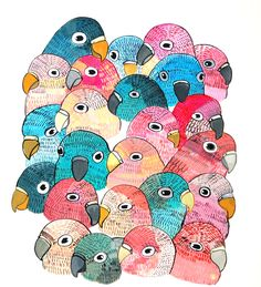 lovebirds.   painting on aquaboard.