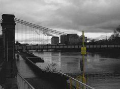 Urban yellow @Glasgow #urban_yellow #Clyde_street #river #Glasgow #Clyde #illustration #travel #greyscale #urbanism # yellow_sign #bridge #blackandwhite_photography #urban_photography #clouds  #common_language
