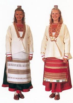 Heinjoki. Carelia Folk Costume, Costumes, Norway Viking, Ethnic Dress, World Cultures, Traditional Outfits, Pattern, How To Wear, National Art