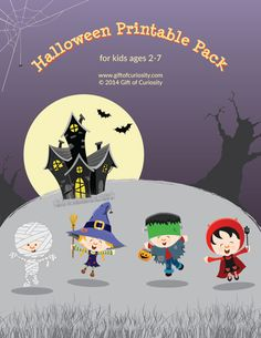 Halloween Printable Pack with 72 activities for kids ages 2-7 focused on shapes, colors, sizes, puzzles, mazes, fine motor, math, literacy, and more! #Halloween #freeprintables || Gift of Curiosity