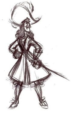 ✶ In this drawing Hook appears to be someone with confidence in himself [from the first drawing done by Frank Thomas in the development of the characters for Peter Pan] ✏️☠⚓️★