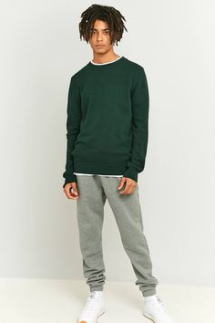 Slide View: 2: Shore Leave by Urban Outfitters Forest Green Textured Crewneck Jumper