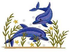 b46 coleção bordados computadorizados golfinhos marinhos