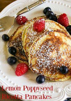 Lemon Poppyseed Ricotta Pancakes. A delightful burst of lemon flavor in every bite - definitely brunch worthy!  Life, Love, and Good Food #recipe #brunch #breakfast