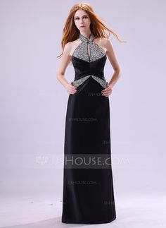 Evening Dresses - $143.99 - Sheath Halter Floor-Length Satin Evening Dress With Ruffle Beading (017014382) http://jjshouse.com/Sheath-Halter-Floor-Length-Satin-Evening-Dress-With-Ruffle-Beading-017014382-g14382