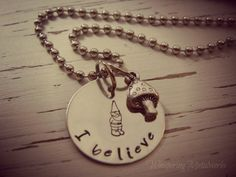 I believe GNOME necklace - hand stamped - silver - mushroom charm