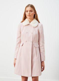 Miss Selfridge Faux Fur Collar Button Coat perfect for Lolita fashion