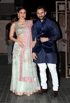 Kareena Kapoor and Saif Ali Khan at Soha Ali Khan, Kunal Khemu's wedding reception.
