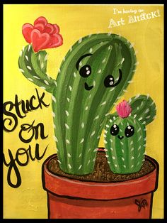 I stick to your cactus. - Cactus Drawing - Cactus - I stick to your cactus. – Cactus Drawing – Informations About I stick - Cute Canvas Paintings, Easy Canvas Art, Easy Canvas Painting, Diy Canvas, Painting For Kids, Diy Painting, Cactus Drawing, Cactus Painting, Cactus Art