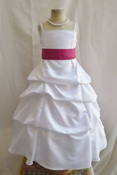 Spu White Fuchsia Hot Pink Wedding Party Recital Gown Pageant Flower Girl Dress