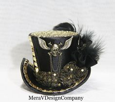Black Mini Top Hat Steampunk Hat Women by MeraVDesignCompany