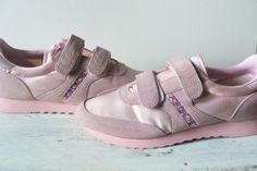 """the back of the tongue said """"You've got the look."""" I thought I was pretty awesome in these babies. Vintage Sneakers, Classic Sneakers, Vintage Tennis, Vintage Pink, Got The Look, Pink Satin, Velcro Straps, Pretty Cool, Shoes Sneakers"""