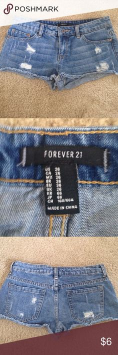 Forever 21 distressed jean shorts size 26 Forever 21 distressed jean shorts size 26. Worn once. Forever 21 Shorts Jean Shorts
