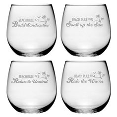 Beach Rules Stemless Glasses.