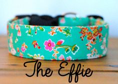 """Girly Vintage Inspired Mint Green Orange and Pink Floral Dog Collar """"The Effie"""""""