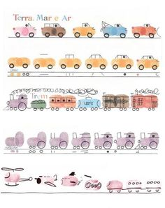 Fingerprint art. Ink, white paper, black pen or marker. Vehicles, trains, transportation, cars, airplanes.