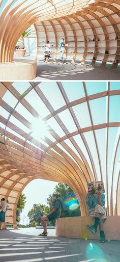 Pavilion architecture - City's first street library is made with wood & parametric design Library Architecture, Parametric Architecture, Pavilion Architecture, Parametric Design, Modern Architecture House, Landscape Architecture, Interior Architecture, Landscape Design, Architecture Diagrams