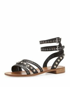 Double Ankle-Wrap Flat Sandal, Black/Brown by Prada at Bergdorf Goodman.