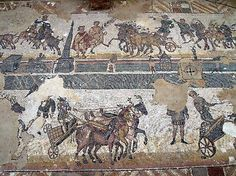 Chariot race from the Villa Casale, 4th century CE, Sicily.