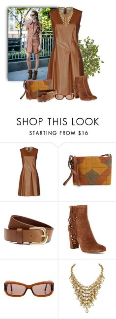 """Caramel Leather Dress"" by kimzarad1 ❤ liked on Polyvore featuring Chiara Ferragni, MM6 Maison Margiela, Sam Edelman, H&M, Diane Von Furstenberg, Chanel, moods and moodscontest"