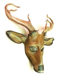 Leather Deer Mask with Antlers Whitetail Stag by teonova on Etsy