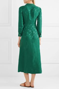 Emerald jacquard Button fastenings along front 85% viscose, 25% silk Dry clean