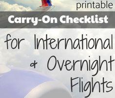 Printable International Flight Travel Carryon Packing Checklist
