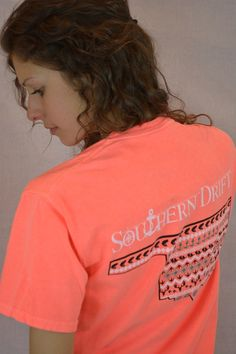 Southern Drift Oklahoma Tee  ~ Neon Red Orange from The Muddy Pearl