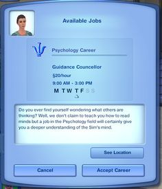 Mod The Sims - Psychology Career