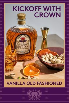 Victory is sweet, the Vanilla Old Fashioneds are sweeter on game day. Combine 1 oz Crown Royal Vanilla, .25 oz simple syrup, and 1-2 dashes bitters in a mixing glass with ice and stir until chilled. Strain into a rocks glass over fresh ice and garnish with orange slice. Drink Recipes Nonalcoholic, Summer Drink Recipes, Alcohol Drink Recipes, Easy Drink Recipes, Non Alcoholic Drinks, Summer Drinks, Cocktail Drinks, Sweet Recipes, Hard Drinks