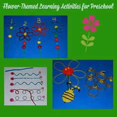 Spring Flower-Themed Counting and Pre-Writing Crafts for Preschoolers!