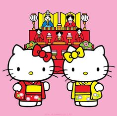 Hello Kitty & Mimmy are celebrating 'Girls Day!' Otherwise known as 'Hinamatsuri' in Japanese culture.