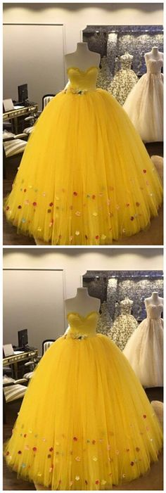 Gorgeous Customized Princess Sweetheart Yellow Long Prom Dress With Tulle, Sexy Charming Ball Gown on Luulla Classy Prom Dresses, Homecoming Dresses, Sexy Dresses, Evening Dresses, Fashion Dresses, Formal Dresses, Party Dresses, Prom Party, Dress Collection
